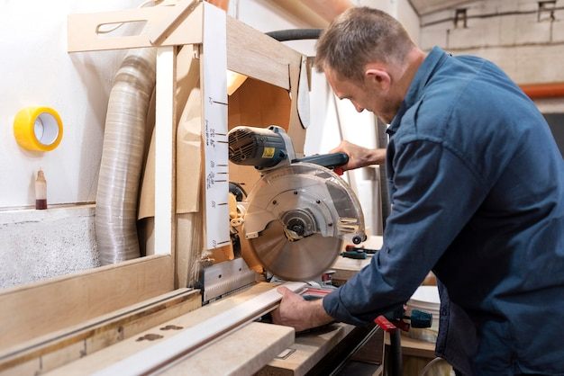 Creative man working in a woodshop