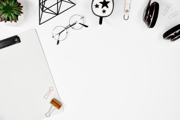 Creative man workplace mockup with copy space