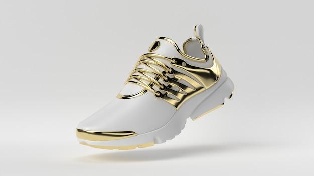 창의적인 최소한의 고급 제품 아이디어. 흰색 배경으로 개념 흰색과 금색 신발입니다.