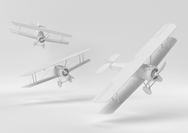 Creative minimal paper idea. concept white airplane with white background. 3d render, 3d illustration.