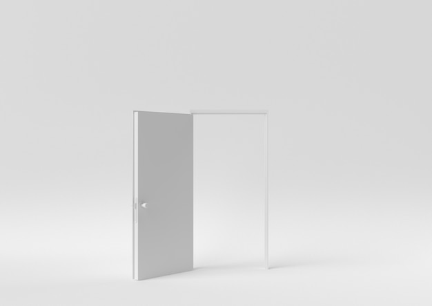 Creative minimal paper idea. concept white door with white background. 3d render, 3d illustration.