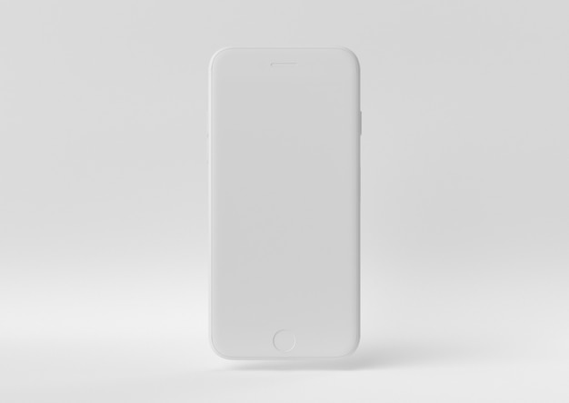 Creative minimal paper idea. concept white iphone with white background. 3d render, 3d illustration.