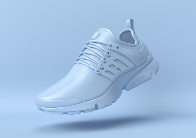Creative minimal summer idea. concept blue shoe with pastel background. 3d render.