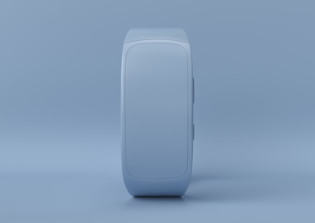 Creative minimal summer idea. concept blue smartwatch with pastel background. 3d render.