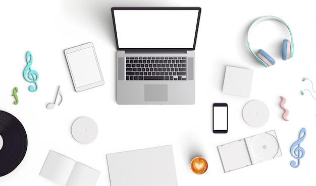 創造的なモックアップノートパソコン