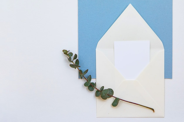 Creative mock up layout made with paper card for inscription note, white envelope, and a green twig. flat lay wedding or valentine's day minimal concept.