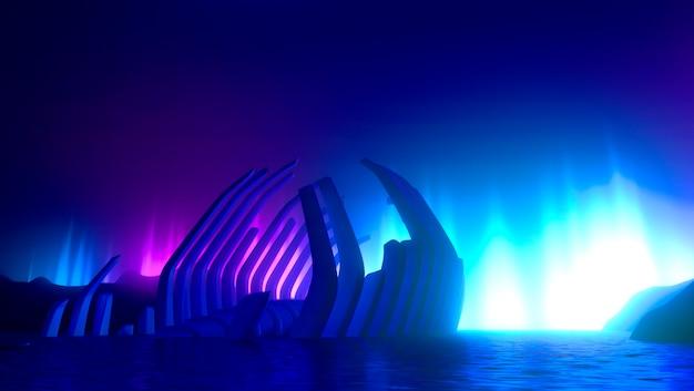 創造的なネオンの輝く背景、概念環境汚染