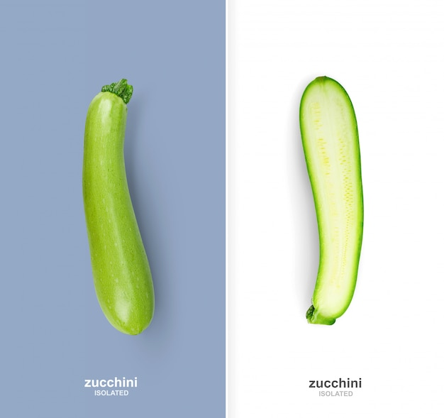 Creative page layout with isolate whole zucchini and half.