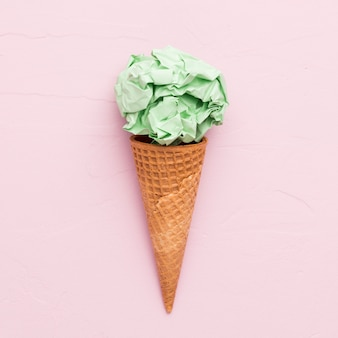 Creative paper ice cream in waffle cones