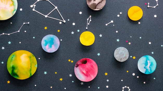 Creative paper planets assortment