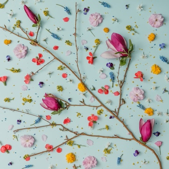 화려한 봄 꽃으로 만든 창의적인 패턴
