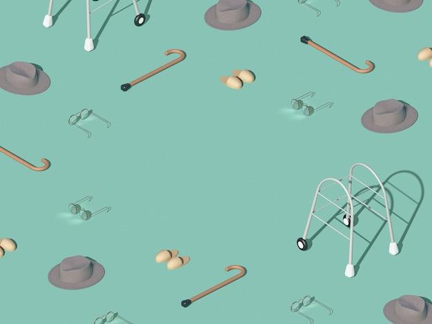 高齢者の日常を使ったクリエイティブなパターン。新しいコロナウイルス感染症(新しいコロナウイルス病)のアイデア。高齢者パンデミックの概念とコピースペース。