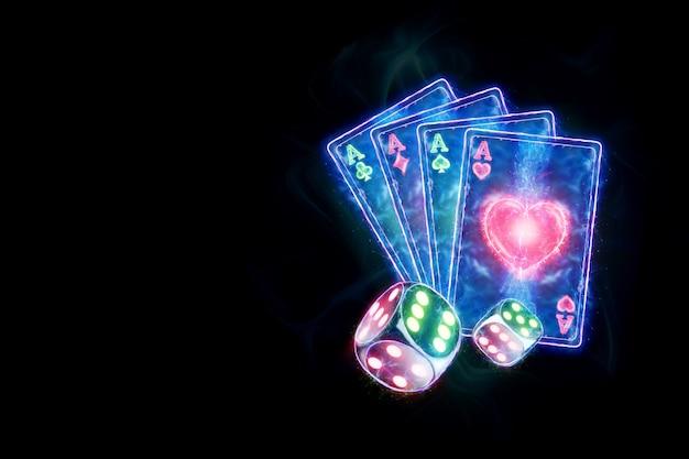 Творческий шаблон покера, дизайн неоновых игральных карт и игральные кости на темном фоне. концепция казино, азартные игры, заголовок для сайта. копирование пространства, 3d иллюстрации, 3d визуализация.
