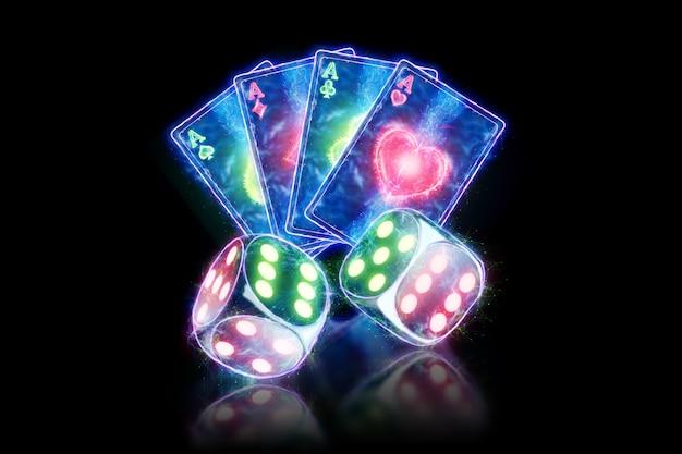 Творческий шаблон покера, неоновые игральные карты и дизайн кости на темном фоне. концепция казино, азартные игры, заголовок для сайта. копирование пространства, 3d иллюстрации, 3d визуализация.