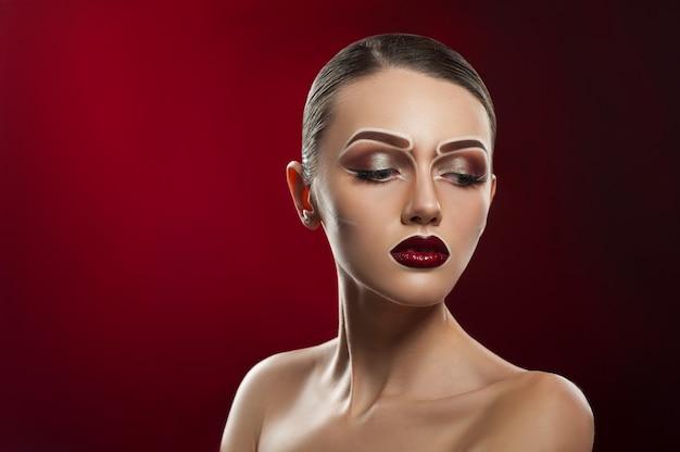 Creative pop art makeup on model's face