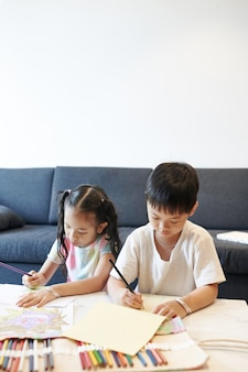 Creative preteen siblings sitting at table at home and drawing pictures with colored pencils