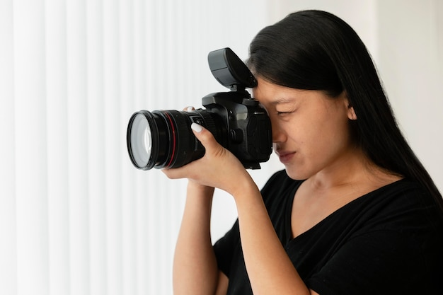 Creative product photographer indoors