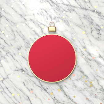 Creative red christmas ball for product display. 3d christmas background. top view. flat lay.