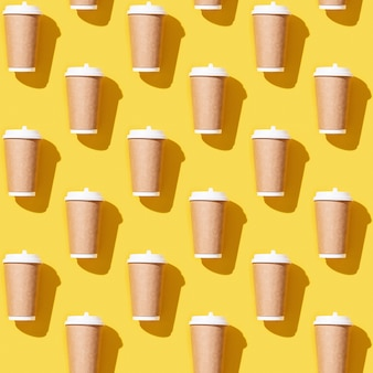 Creative seamless pattern with craft take away big paper cup for coffee.