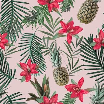 꽃과 핑크 파스텔 벽에 파인애플 크리 에이 티브 원활한 열 대 패턴입니다. 자연 컨셉