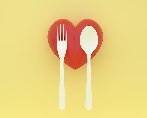 Creative of spoons and forks with heart on yellow color background. minimal healthcare con
