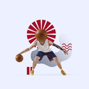창의적인 스포츠와 기하학적 스타일. 행동에 농구 선수, 파란색 배경에 모션. 텍스트 또는 광고를 삽입할 음수 공간입니다. 현대적인 디자인. 현대적인 화려하고 밝은 아트 콜라주.