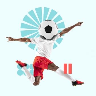 창의적인 스포츠와 기하학적 스타일. 축구, 축구 선수 행동, 파란색 배경에 모션. 텍스트 또는 광고를 삽입할 음수 공간입니다. 현대적인 디자인. 현대적인 화려하고 밝은 아트 콜라주.