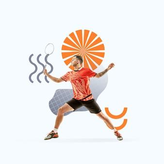 창의적인 스포츠와 기하학적 스타일. 행동에 테니스 선수, 밝은 배경에 모션입니다. 텍스트 또는 광고를 삽입할 음수 공간입니다. 현대적인 디자인. 현대적인 화려하고 밝은 아트 콜라주.