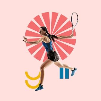창의적인 스포츠와 기하학적 스타일. 행동에 테니스 선수, 분홍색 배경에 모션입니다. 텍스트 또는 광고를 삽입할 음수 공간입니다. 현대적인 디자인. 현대적인 화려하고 밝은 아트 콜라주.