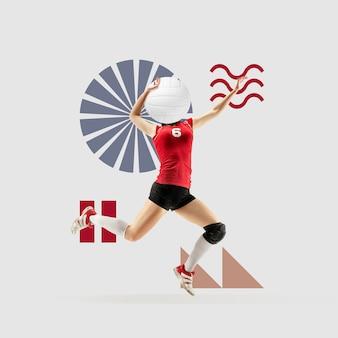 クリエイティブなスポーツと幾何学的なスタイル。アクションのバレーボール選手、灰色の背景の動き。テキストまたは広告を挿入するための負のスペース。モダンなデザイン。現代のカラフルで明るいアートコラージュ。