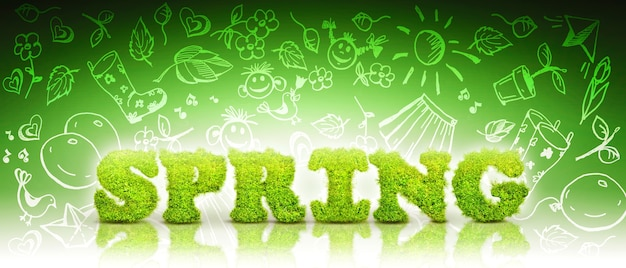 Creative spring concept with letters.