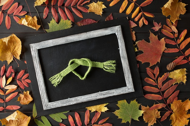 Creative still life autumn composition. frame made of autumn leaves and scarf.