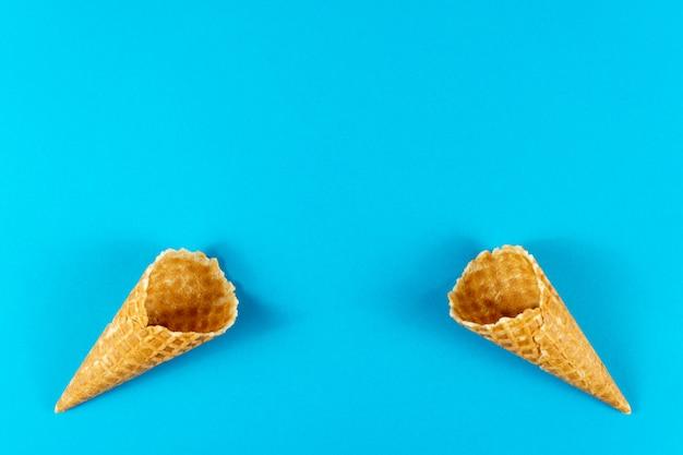 Creative summer layout made of ice cream cones. minimal concept