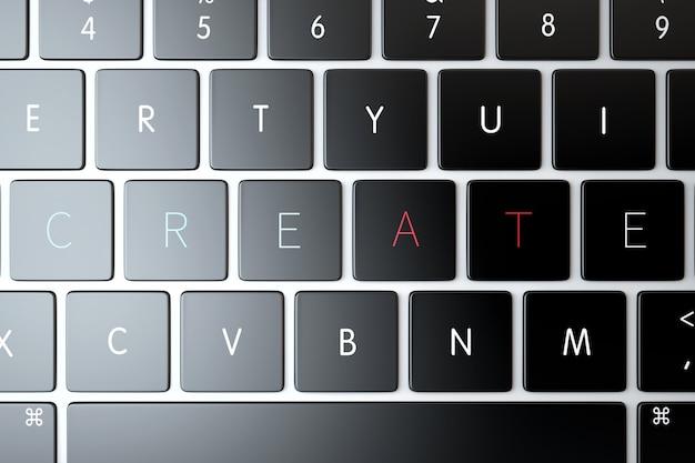 クリエイティブラップトップキーボード上のテキストサイン