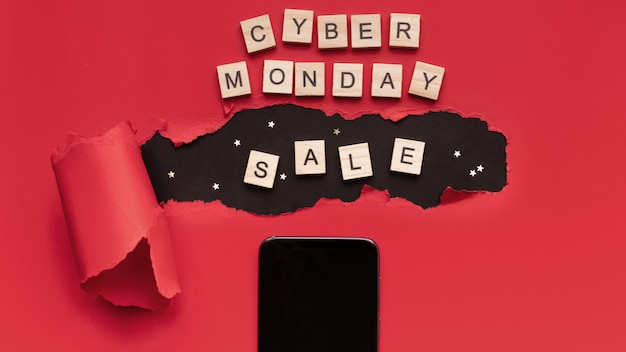 Creative top view flat lay, advertising composition cyber monday.