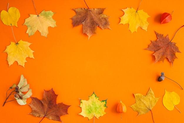 크리 에이 티브 상위 뷰 평면 누워 가을 개념 구성. 말린 된 밝은 단풍 오렌지 종이 프레임 배경 복사 공간.