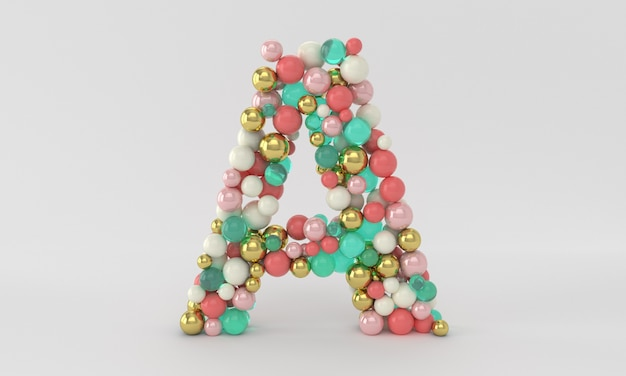 Creative and trendy letter a made of golden and glass balls