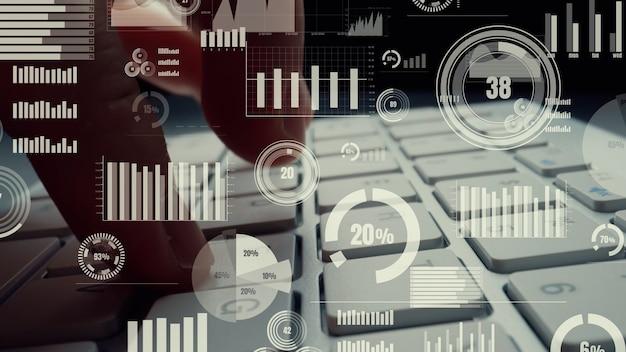 Creative visual of business big data and finance analysis on computer