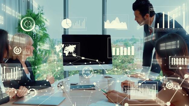 Creative visual of business data analyzing technology
