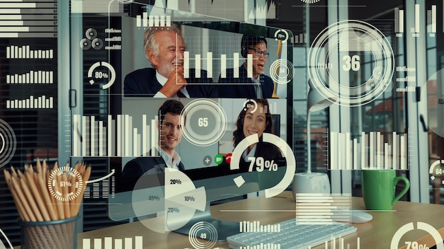 Creative visual of business people in a corporate staff meeting on video call