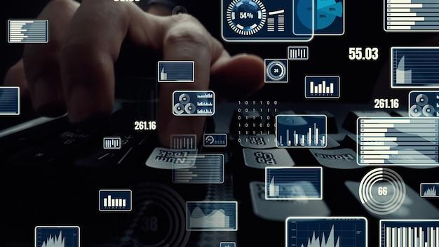 Креативная визуализация бизнес-анализа больших данных и финансов на компьютере Premium Фотографии