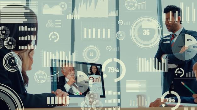 Креативный визуальный образ деловых людей на корпоративном собрании персонала по видеозвонку Premium Фотографии