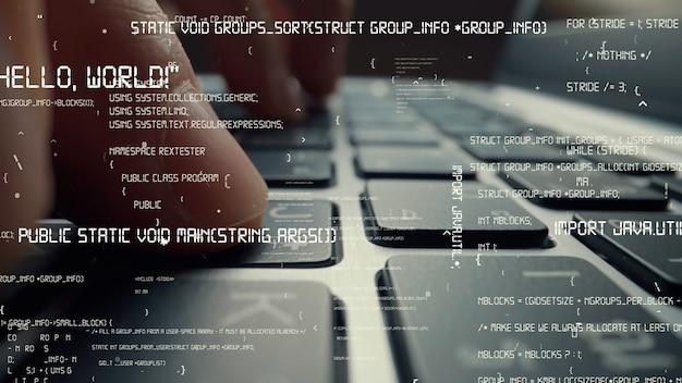 コンピュータープログラミングのコーディングとソフトウェア開発のクリエイティブビジュアル