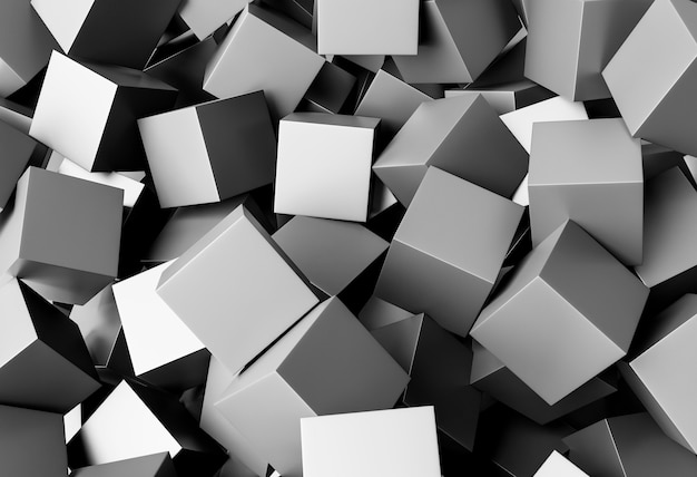Creative wallpaper with grey cubes