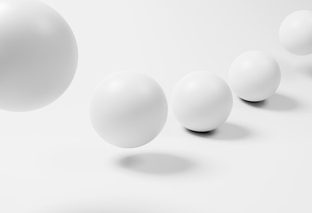 Creative wallpaper with white spheres