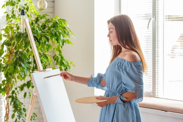 Creative woman working in art