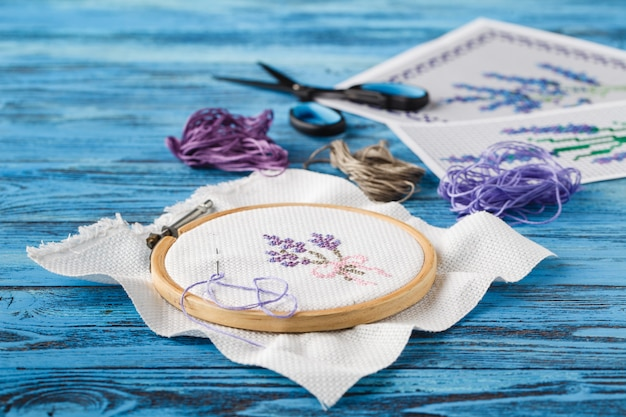 Creative workplace of embroidery