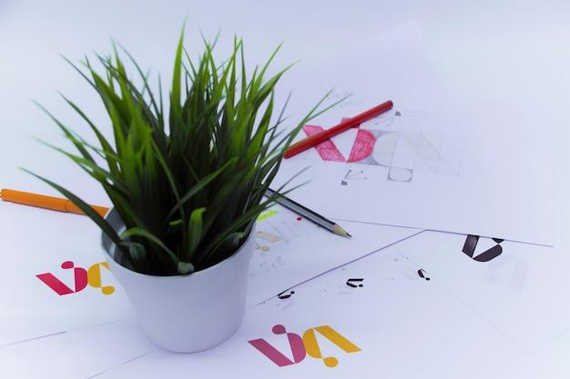 냄비에 꽃과 그래픽 디자이너의 창의적인 작업 공간. 회사 로고 개발. 아트 스튜디오 사무실에서 종이에 그림과 스케치.