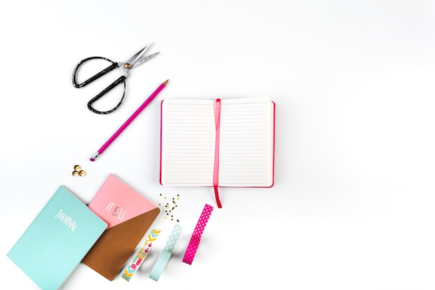 Creative workplace with diary