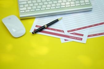 Creative workspace desk with notebook